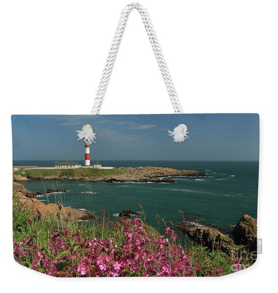 Buchan Ness Lighthouse And Spring Flowers Weekender Tote Bag
