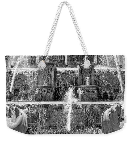 Buckingham Fountain Closeup Black And White Weekender Tote Bag