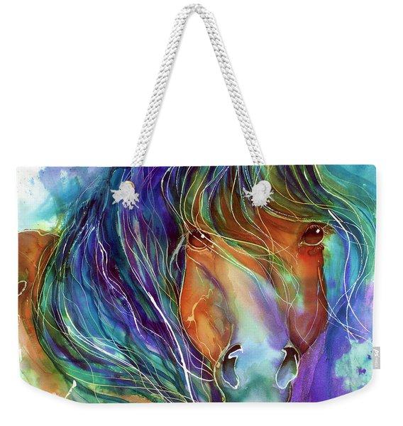 Bucky The Mustang In Watercolor Weekender Tote Bag
