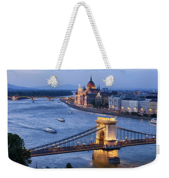 Budapest Cityscape At Dusk Weekender Tote Bag