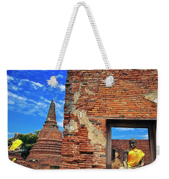 Weekender Tote Bag featuring the photograph Buddha Doorway At Wat Worachetha Ram In Ayutthaya, Thailand by Sam Antonio Photography