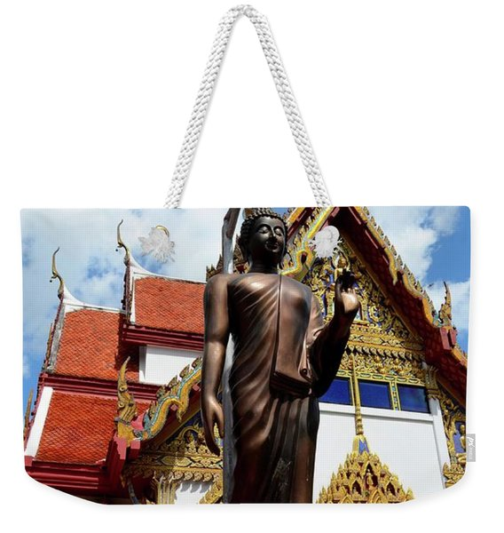 Buddha Statue With Sunshade Outside Temple Hat Yai Thailand Weekender Tote Bag