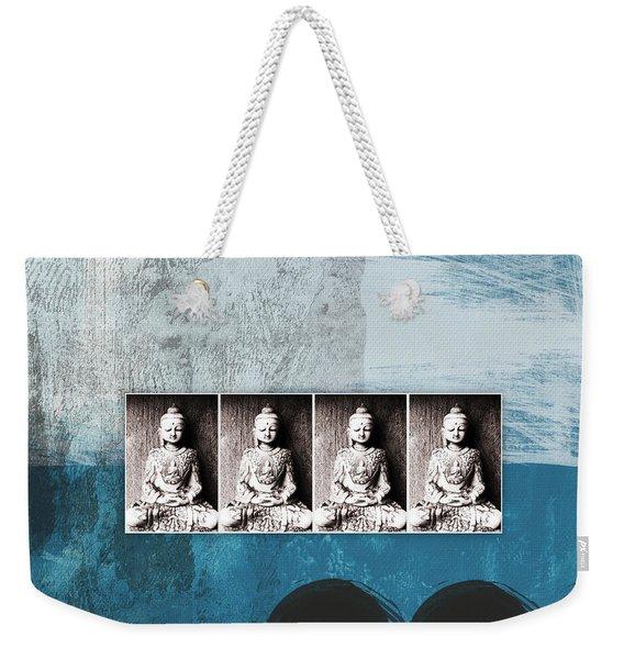 Buddhas In Blue- Contemporary Art By Linda Woods. Weekender Tote Bag