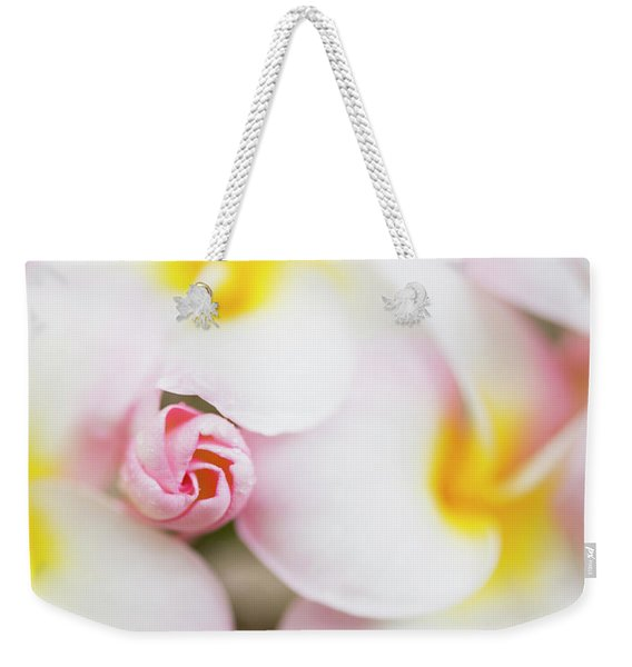 Weekender Tote Bag featuring the photograph Budding Plumeria Cluster by Charmian Vistaunet