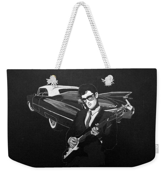 Weekender Tote Bag featuring the painting Buddy Holly And 1959 Cadillac by Richard Le Page