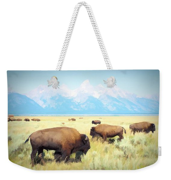 Buffalo Roam, Smokey Grand Tetons, Wyoming Weekender Tote Bag