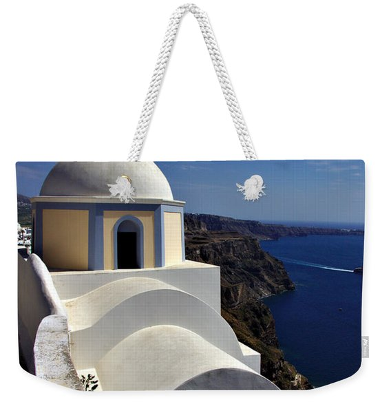 Weekender Tote Bag featuring the photograph Building In Fira by Jeremy Hayden