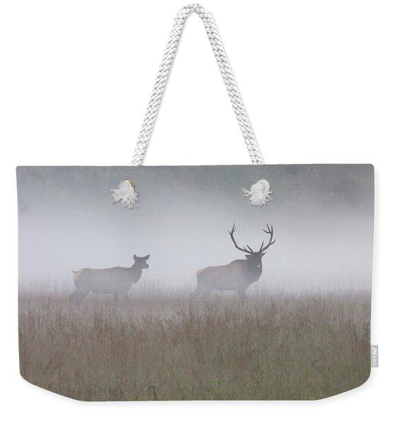 Bull And Cow Elk In Fog - September 30 2016 Weekender Tote Bag