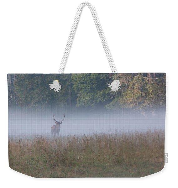 Bull Elk Disappearing In Fog - September 30 2016 Weekender Tote Bag