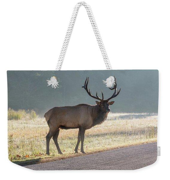 Bull Elk Watching Weekender Tote Bag