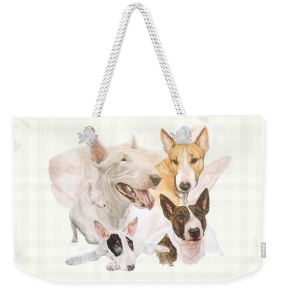 Weekender Tote Bag featuring the mixed media Bull Terrier Medley by Barbara Keith
