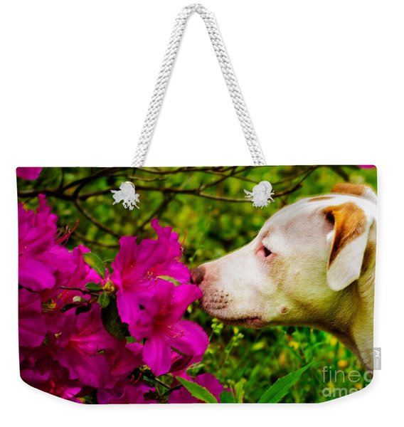 Bulldog Flowers Weekender Tote Bag