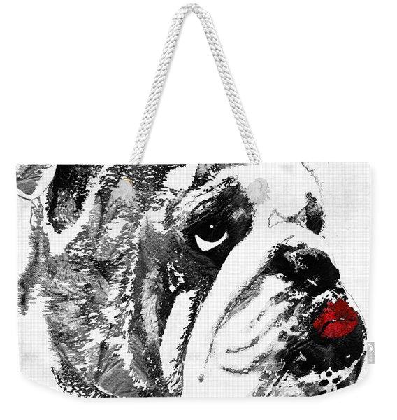 Bulldog Pop Art - How Bout A Kiss 2 - By Sharon Cummings Weekender Tote Bag