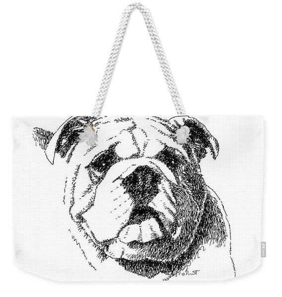 Bulldog-portrait-drawing Weekender Tote Bag