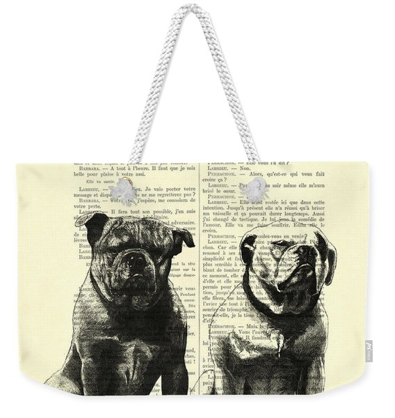 Bulldogs, Two Dogs Sitting Black And White Vintage Illustration Weekender Tote Bag