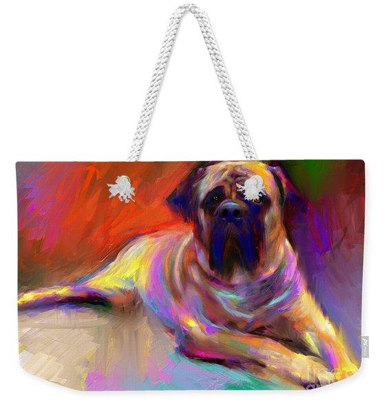 Bullmastiff Dog Painting Weekender Tote Bag