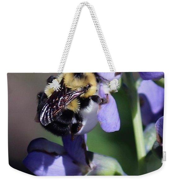 Bumble Bee, Blue Indigo Weekender Tote Bag
