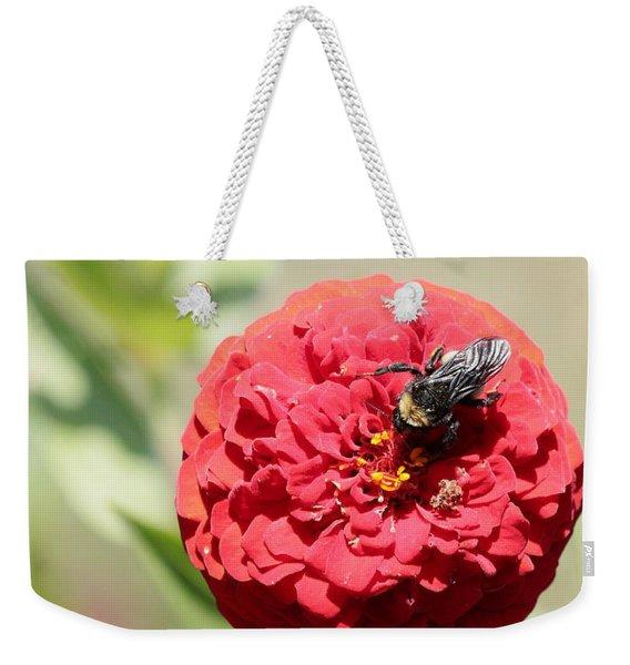Bumble Bee On Zinnia Weekender Tote Bag