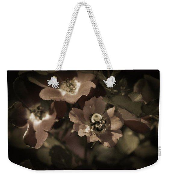 Bumblebee On Blush Country Rose In Sepia Tones Weekender Tote Bag