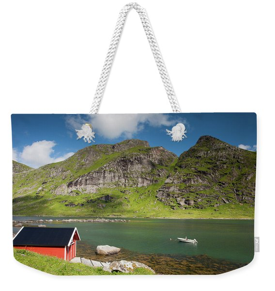Bunesfjord With Rorbu And Boat Weekender Tote Bag