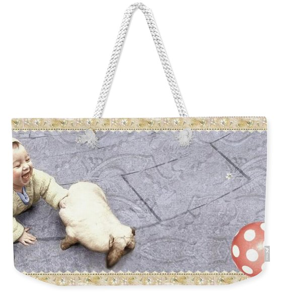 Baby Chases Bunny Weekender Tote Bag