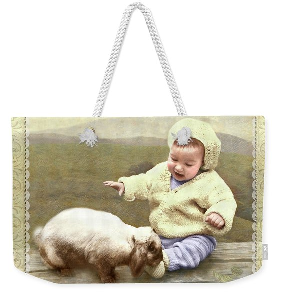 Bunny Nuzzles Baby's Toes Weekender Tote Bag