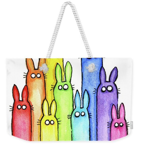 Bunny Rabbits Watercolor Rainbow Weekender Tote Bag