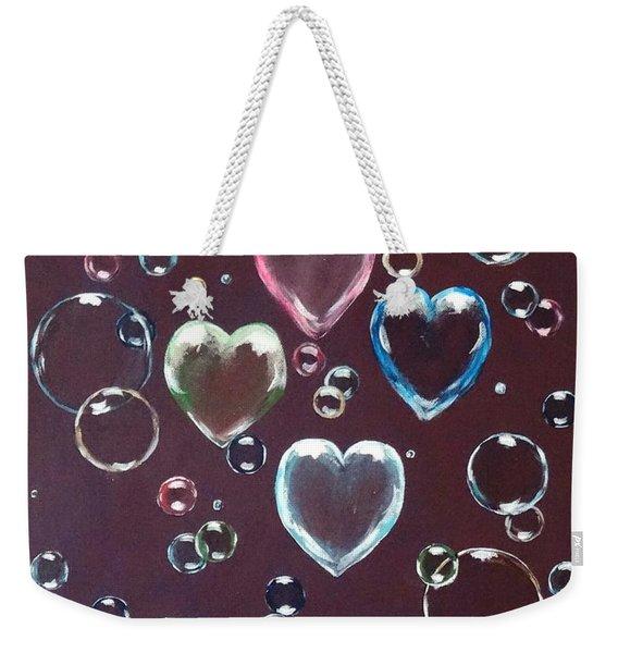 Burgundy Bubbles Weekender Tote Bag