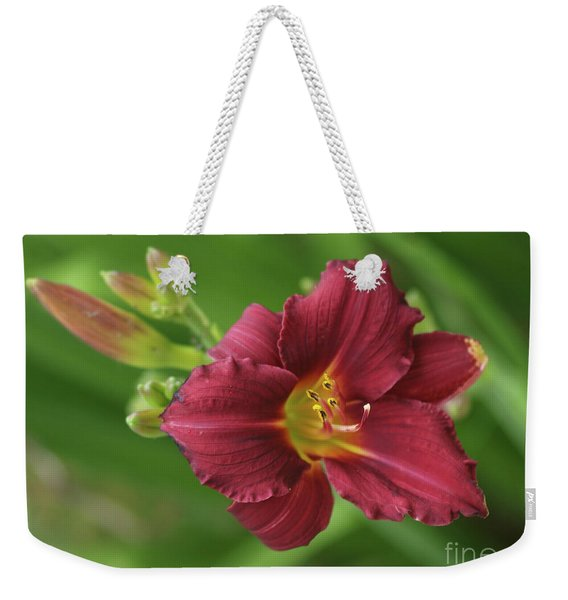 Burgundy Day Lily Weekender Tote Bag