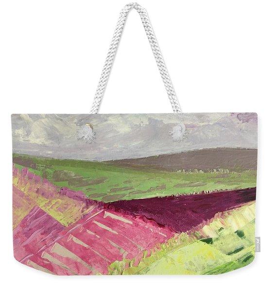 Burgundy Fields Weekender Tote Bag
