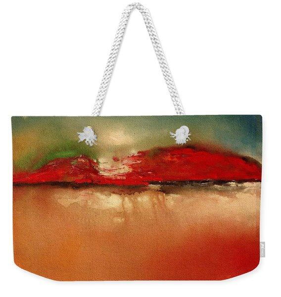 Burgundy Mountain Weekender Tote Bag