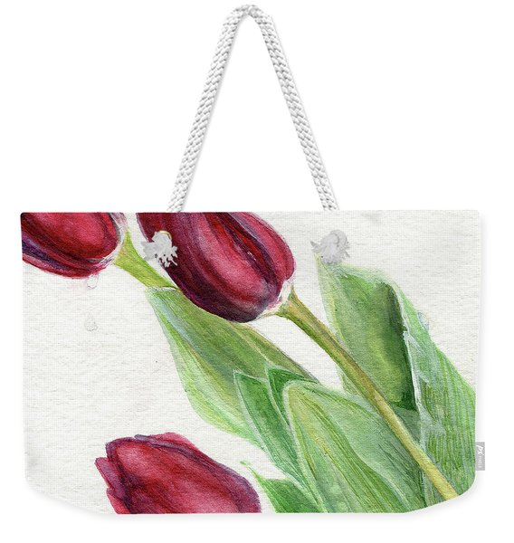 Burgundy Tulips Weekender Tote Bag