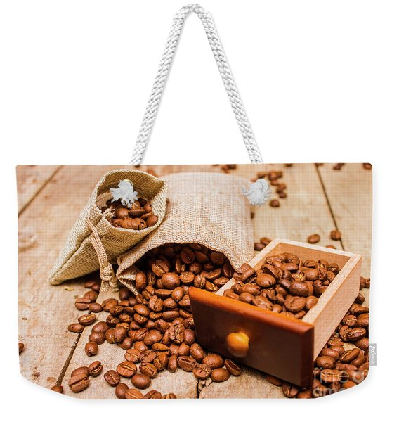 Burlap Bag Of Coffee Beans And Drawer Weekender Tote Bag