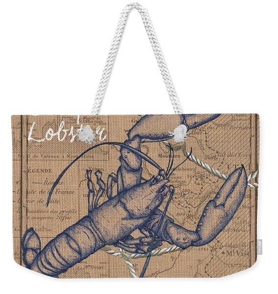 Burlap Lobster Weekender Tote Bag