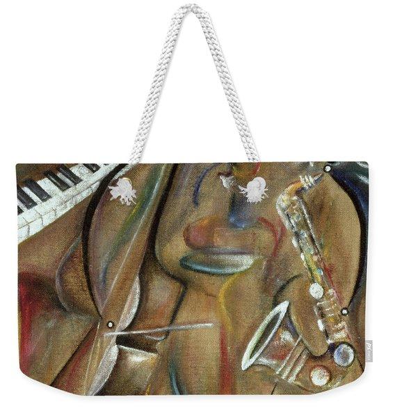Burlap Sax Weekender Tote Bag