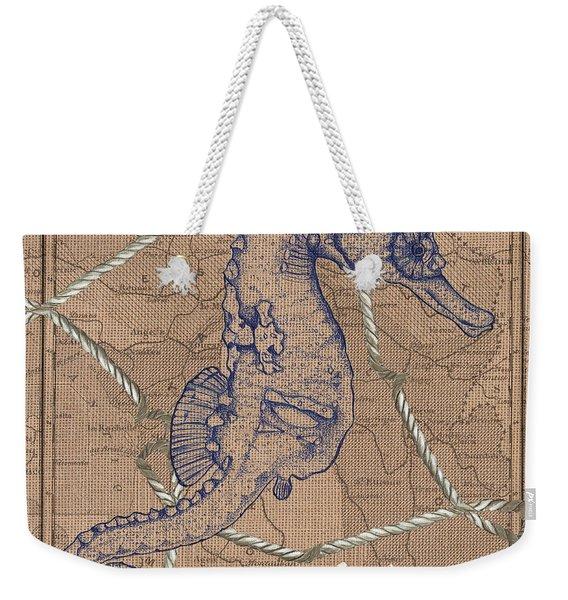 Burlap Seahorse Weekender Tote Bag