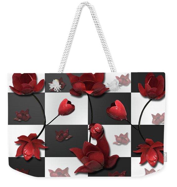 Burnt Crimson Flora Weekender Tote Bag