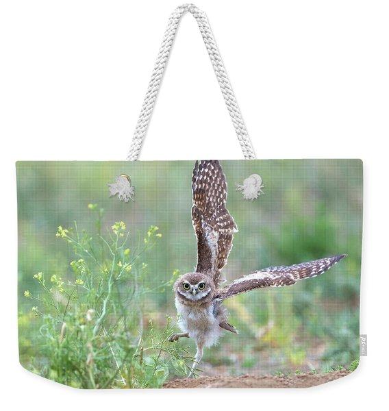 Burrowing Owl Spies Grasshopper Weekender Tote Bag