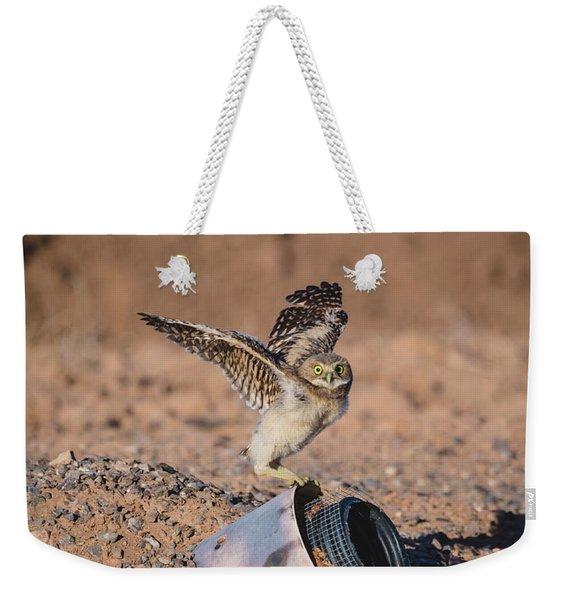Burrowing Owlet Stretching His Wings Weekender Tote Bag