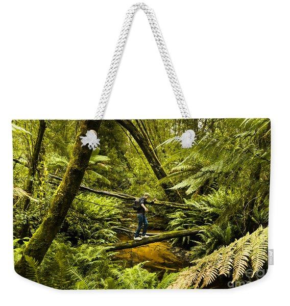 Bushwalker Hiking Over Log In Tasmanian Forest Weekender Tote Bag