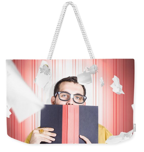 Businessman Studying Stats And Data Statistics Weekender Tote Bag