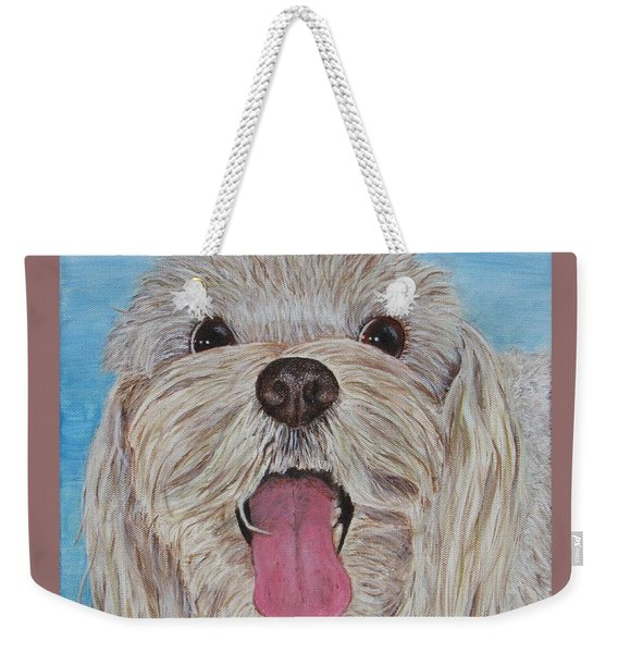 Weekender Tote Bag featuring the painting Buster by Nancy Nale