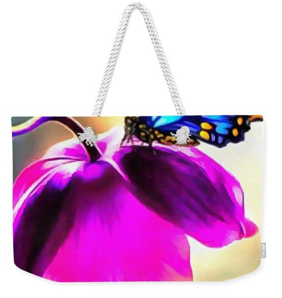 Butterfly Floral Weekender Tote Bag