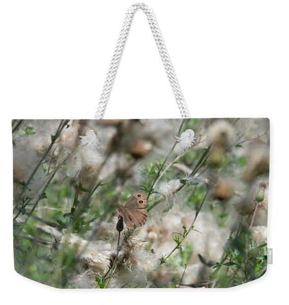 Butterfly In Puffy Seed Heads Weekender Tote Bag
