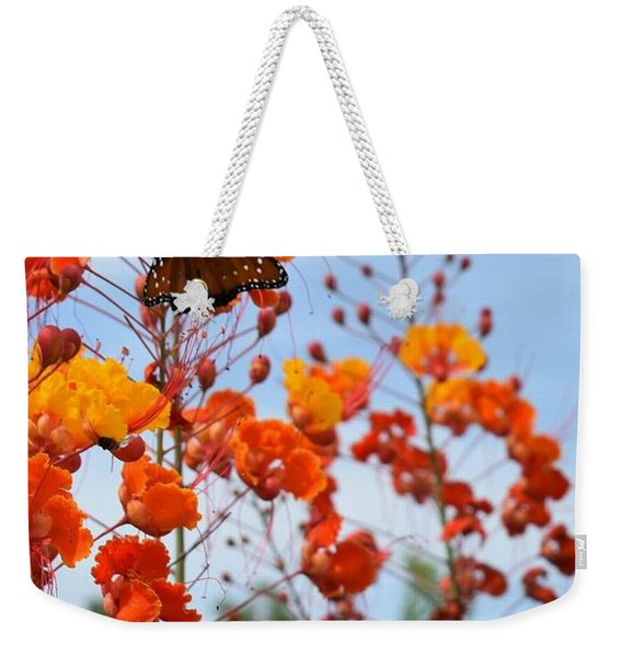 Butterfly On Bird Of Paradise Weekender Tote Bag