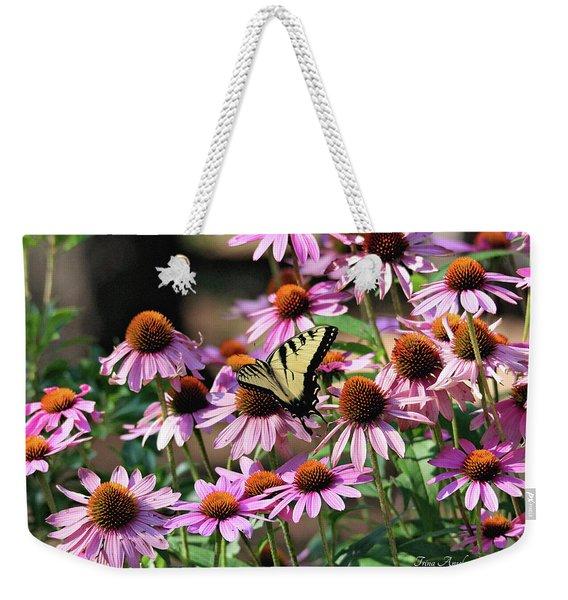 Butterfly On Coneflowers Weekender Tote Bag
