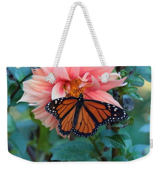 Butterfly On Dahlia Weekender Tote Bag