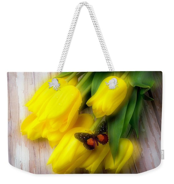 Butterfly On Yellow Tulips Weekender Tote Bag