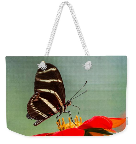 Butterfly Zebra Longwing On Zinnia Weekender Tote Bag