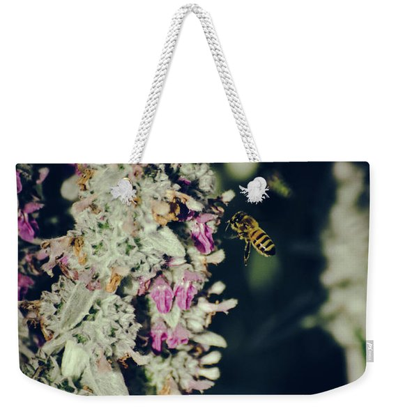 Weekender Tote Bag featuring the photograph Buzzing In My Lamb's Ear by Jason Coward